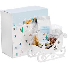Набор подарочный Susani New: сани интерьерные, чай мандариновый, мед с имбирем, свеча «Шишка», миндаль, белый / голубой фото