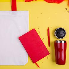 Набор подарочный SWEETFACE: бизнес-блокнот, ручка, термокружка, сумка, красный фото