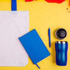 Набор подарочный Sweetface: блокнот, ручка, термокружка, сумка, синий фото