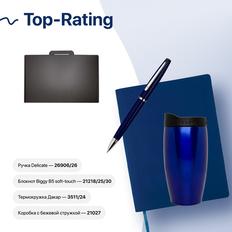 Набор подарочный Top-Rating: бизнес-блокнот, ручка, термокружка, коробка, стружка, синий фото