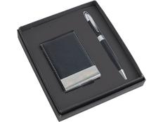 Набор подарочный: визитница, ручка шариковая, черный/ серебристый фото