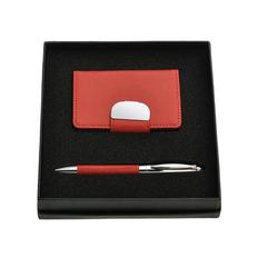 Набор подарочный Встреча: визитница, авторучка, красный фото