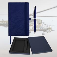 Набор подарочный Warriorstyle: бизнес-блокнот, ручка, темно-синий фото