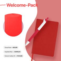 Набор подарочный Welcome-Pack: бизнес-блокнот, ручка, коробка, красный фото