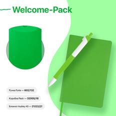 Набор подарочный Welcome-Pack: бизнес-блокнот, ручка, коробка, зеленое яблоко фото