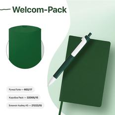 Набор подарочный Welcome-Pack: бизнес-блокнот, ручка, коробка, зеленый фото