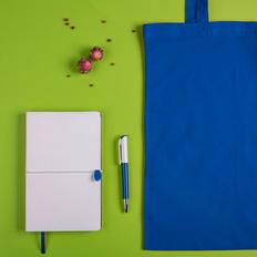 Набор подарочный White&you: блокнот, ручка, сумка, белый/ синий фото