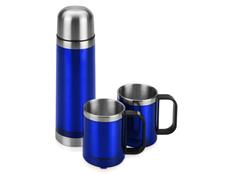 Набор Походный: термос, кружки походные 2 шт., синий/ хром фото