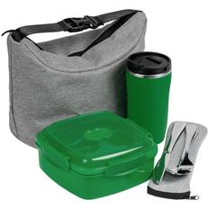 Набор Posh Nosh: изотермическая сумка Burst Oneworld, ланчбокс Cube, термостакан Underway, столовые приборы в чехле Personals, зеленый фото