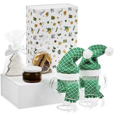 Набор «Предвкушение волшебства»: бокал для глинтвейна, 2 шт, мед гречишный, специи для глинтвейна, печенье Елочка, зеленый фото