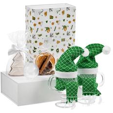Набор «Предвкушение волшебства»: бокал для глинтвейна, 2 шт, елочный шар Gala Night, специи для глинтвейна, печенье Елочка, зеленый / белый фото