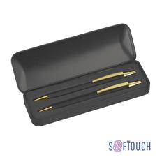 """Набор """"Ray"""": ручка+карандаш, чёрный/золотой, покрытие soft touch фото"""