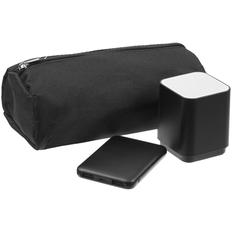 Набор Reversal: внешний аккумулятор Uniscend Full Feel 5000 mAh, беспроводная колонка с подсветкой логотипа Glim, пенал Unit Penhouse, черный фото