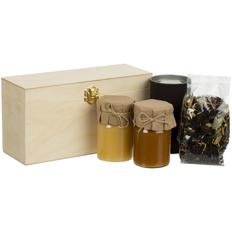 Набор Right Bees: мед таежный, мед горный, чай, светлое дерево/ крафт фото