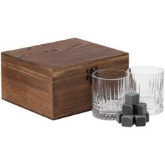 Набор Rock and Cold: стаканы 2 шт, камни для виски 8 шт, бархатный мешочек, крафт / прозрачный фото
