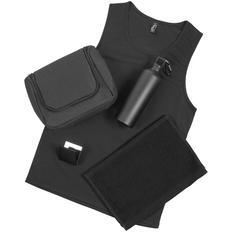 Набор Rock Star: бутылка для воды Al, майка мужская Sporty TT Men, полотенце махровое Soft Me Small, зеркало PocketMe, несессер Unit Simon, черный фото