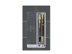 Набор ручек Parker IM Core Black GT: ручка шариковая, ручка перьевая, чёрный / золотой фото
