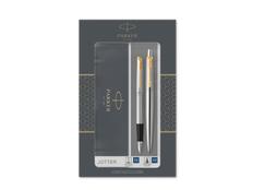 Набор ручек Parker Jotter Core Stainless Steel GT: ручка шариковая, ручка перьевая, серебряный / чёрный фото