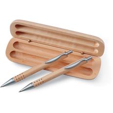 Набор в футляре: ручка шариковая, карандаш механический, светлое дерево фото