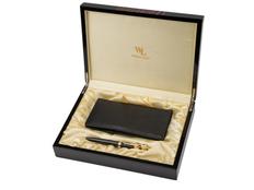 Набор: ручка шариковая, трэвел-портмоне, чёрно-золотой фото