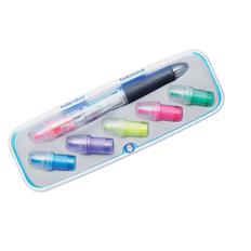 Набор: ручка шариковая пластиковая, фломастер со сменными насадками, разноцветный фото