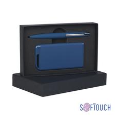 Набор Chili: ручка шариковая пластиковая Mercury, пауэр банк Theta 4000 мАч, soft touch, синий фото