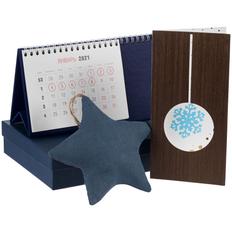 Набор с календарем и открыткой, синий фото