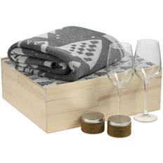 Набор Снежность: плед, свечи ароматические и бокалы, крафт / серый фото