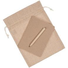 Набор Sandy: блокнот Sandy, карандаш простой Mini, холщовый мешок Foster Thank, крафт фото