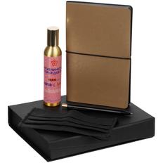 Набор Sanity: ежедневник, ручка металлическая, маска гигиеническая и санитайзер, золотистый фото