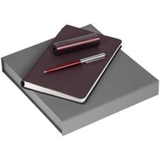 Набор Scroll Energy: ежедневник Scroll, ручка шариковая Flip Silver, аккумулятор Easy Metal, 2200 мАч, бордовый фото