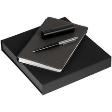 Набор Scroll Energy: ежедневник Scroll, ручка шариковая Flip Silver, аккумулятор Easy Metal, 2200 мАч, темно-серый фото