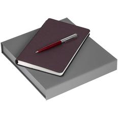 Набор Scroll Writer: ежедневник Scroll, ручка шариковая Flip Silver, бордовый фото