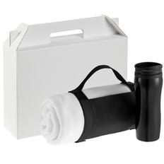 Набор Selfhood (термостакан, плед дорожный), ver.2, белый с черным фото