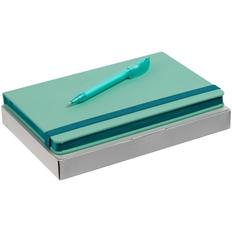 Набор Shall Color: блокнот Shall, ручка шариковая Slider Soft Touch, бирюзовый фото