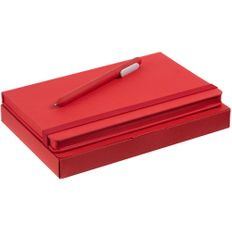 Набор Shall Color: блокнот Shall, ручка шариковая Slider Soft Touch, красный фото