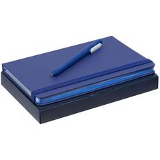 Набор Shall Color: блокнот Shall, ручка шариковая Slider Soft Touch, синий фото