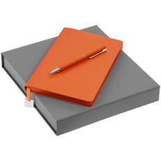 Набор Shall Light: ежедневник недатированный А5, ручка шариковая Blade Soft Touch, оранжевый фото