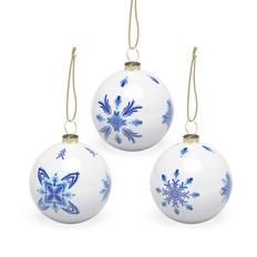Набор шаров «Гжель», 3 шт в подарочной коробке, белый / голубой фото