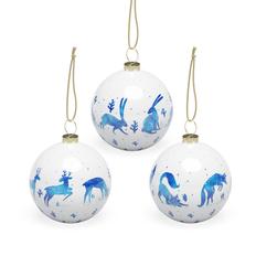 Набор шаров «Зимний лес», 3 шт в подарочной коробке, белый / голубой фото