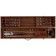 Набор шашлычный Duke: 6 шампуров, шампур-вилка, вилка-нож, кочерга, 4 стопки, штопор, короб, коричневый / серебряный фото