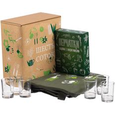 Набор «Шесть соток»: фартук, перчатки садовые, стопки 6 шт, зеленый / крафт фото