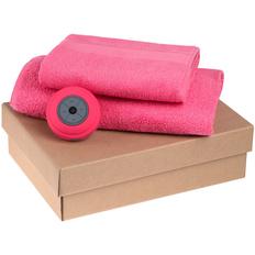 Набор Shower Tunes: беспроводная колонка StuckSpeaker 2.0, полотенце махровое Soft Me Large, полотенце махровое Soft Me Medium, розовый фото