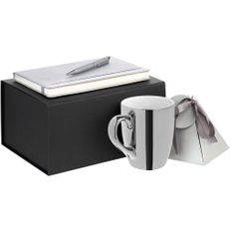 Набор Silver Age: блокнот Copelle, кружка Lacerta, чай черный «Ассам», ручка шариковая Glide, серебристый / черный фото