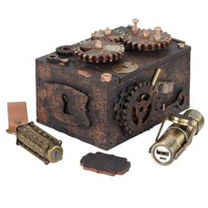 Набор Скрытые резервы: шкатулка-головоломка, внешний аккумулятор Power Source 3000 мАч, флешка 32 Гб, бронза фото