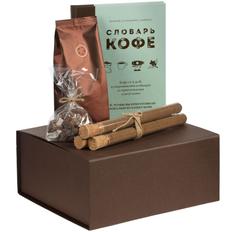 Набор Словарь кофе: набор специй для кофе, кофе в зернах, книга, леденцовый сахар, коричневый/ бирюзовый фото