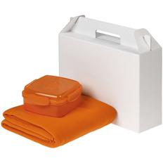 Набор Snack Back: ланчбокс Cube, флисовый плед Warm&Peace, оранжевый фото