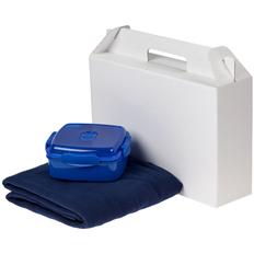 Набор Snack Back: ланчбокс Cube, флисовый плед Warm&Peace, синий фото