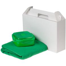Набор Snack Back: ланчбокс Cube, флисовый плед Warm&Peace, зеленый фото