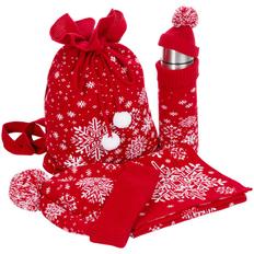 Набор teplo Snow Fairy: шапка, шарф, термос в чехле, сумка, красный фото